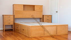 Custom Bookcase and captain bed made from Maple wood with English Oak stain.
