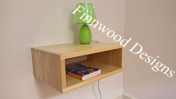 Floating night table to save space in small room! Shown in natural finish on Poplar wood.