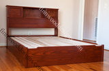 Custom captain box bed with bookcase headboard