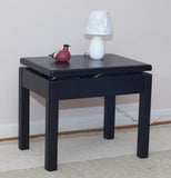 night table, bench for extra seeting.
