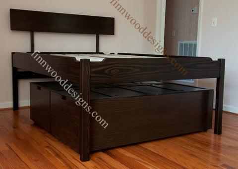 Elegant Elevated Platform Bed With Storage Drawers  Tall Bed