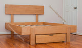 Maple Full size Kajaani platform stained in English oak with Optional drawer