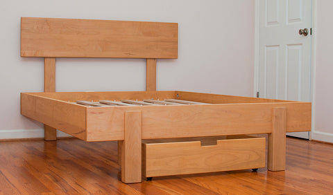 Kajaani Platform Bed  made of Maple wood with English oak stain
