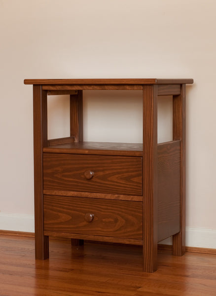 Night stand with drawers and shelf finished in Colonial Pine stain.
