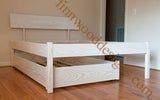 Queen elevated bed with trundle bed underneath