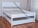 Trundle queen platform with full lower unit and Cottage headboard added.