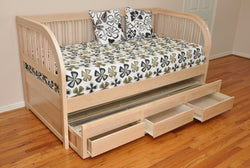 XL Daybed with trundle and storage finished natural