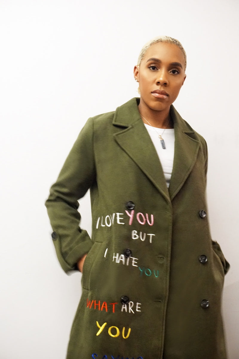 Embroidered Olive Coat