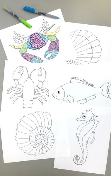 Sea Creature Tangle Starter Sheets