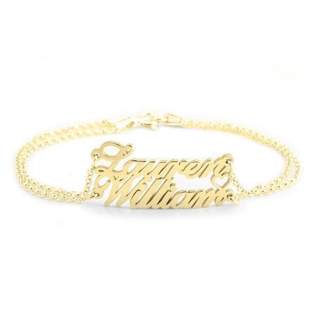Double Name Heart Bracelet