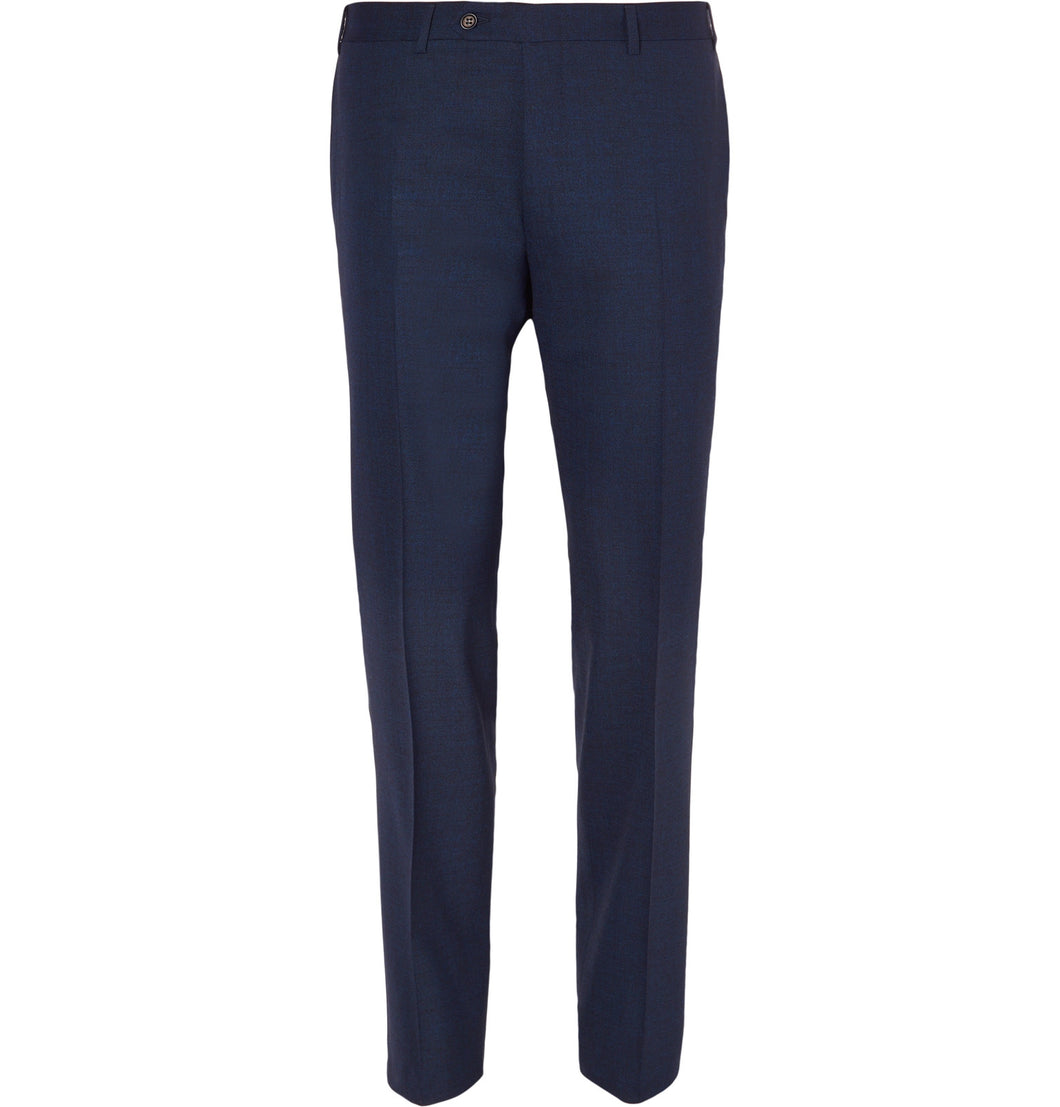 Navy Slim-Fit Mélange Stretch-Wool Suit Trousers