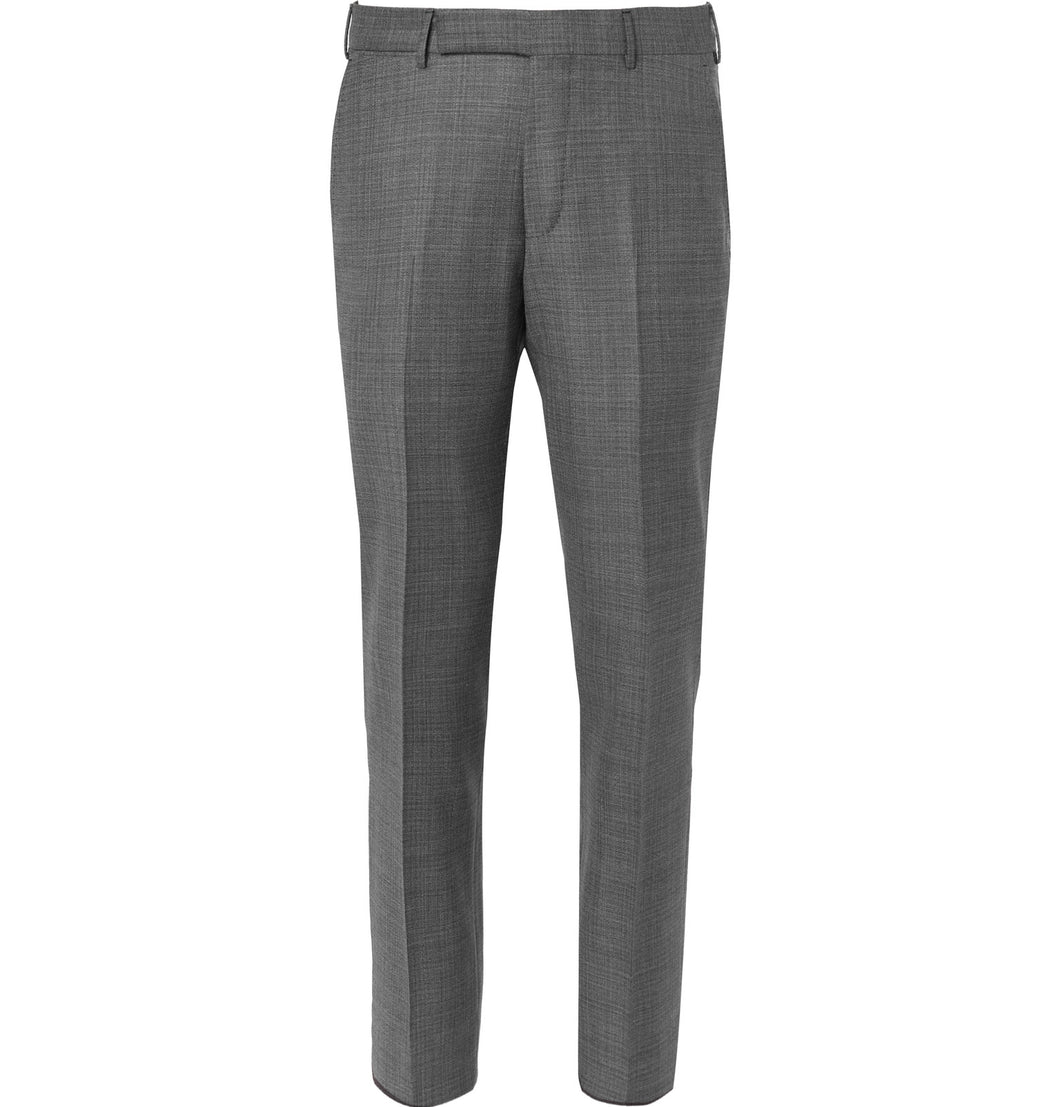 Slim-Fit Checked Wool Trousers
