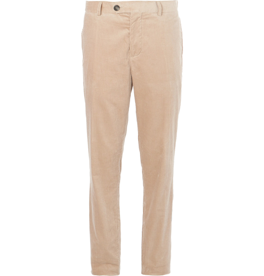 Beige Sea Island Cotton-Corduroy Suit Trousers