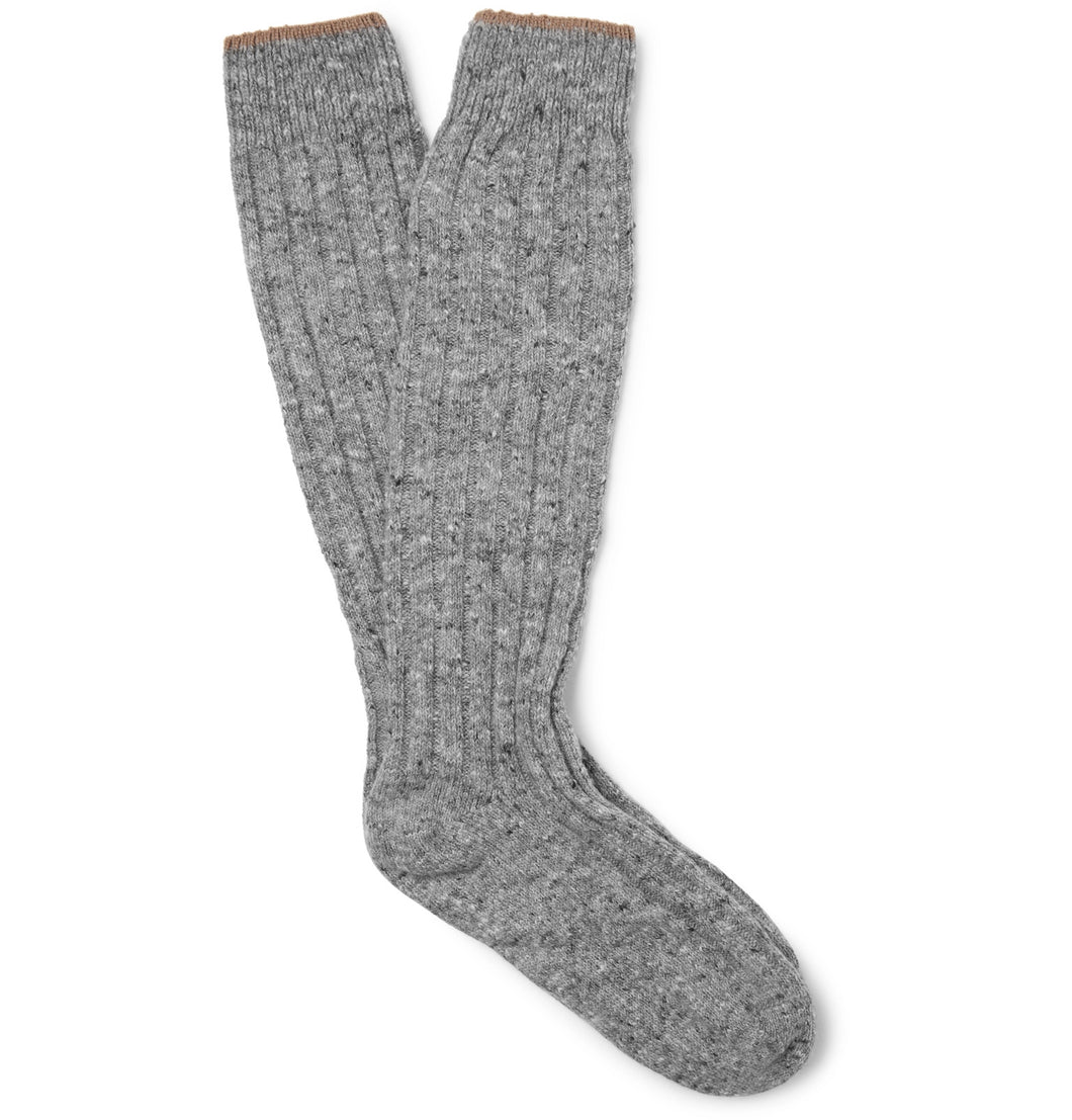 Ribbed Mélange Virgin Wool-Blend Socks