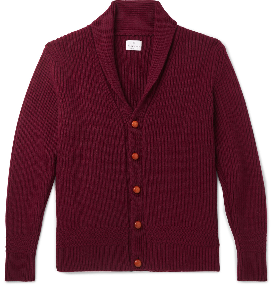 Slim-Fit Shawl-Collar Ribbed Wool and Cashmere-Blend Cardigan