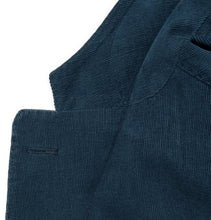 Midnight-Blue Slim-Fit Unstructured Stretch-Cotton Corduroy Suit Jacket
