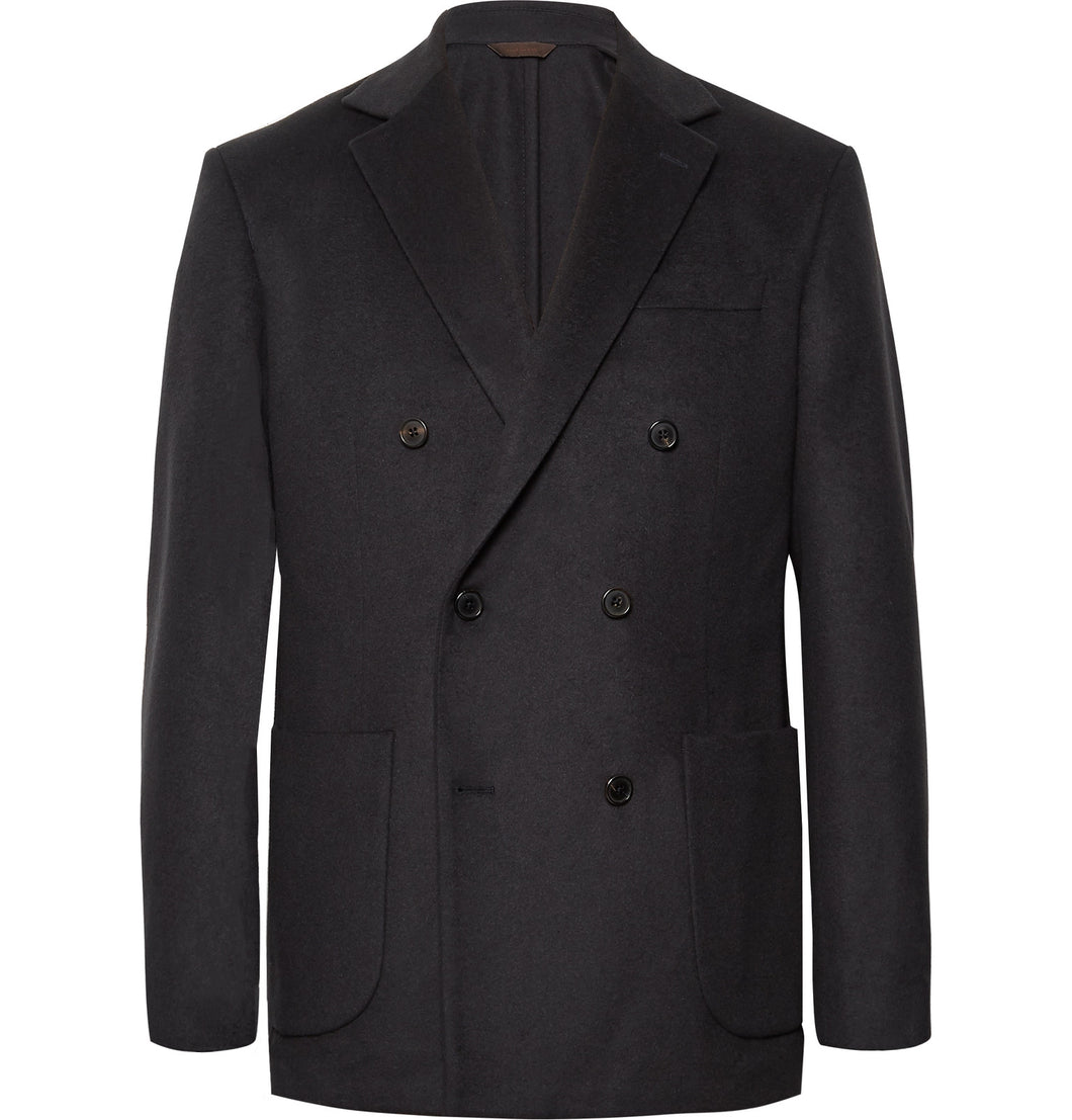 Midnight-Blue Double-Breasted Cashmere Blazer