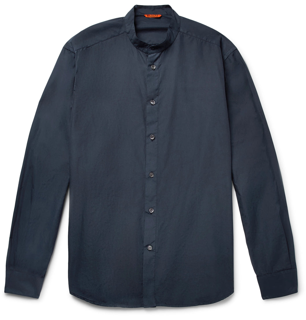 Grandad-Collar Cotton-Poplin Shirt