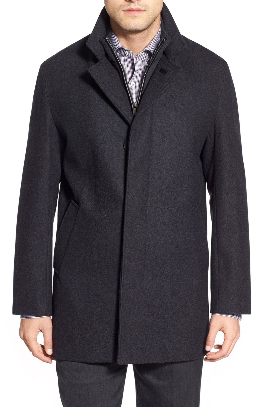 Wool Blend Topcoat with Inset Knit Bib