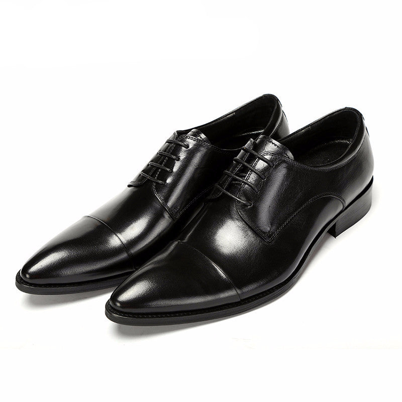 Formal Black Leather Cap-Toe Shoes