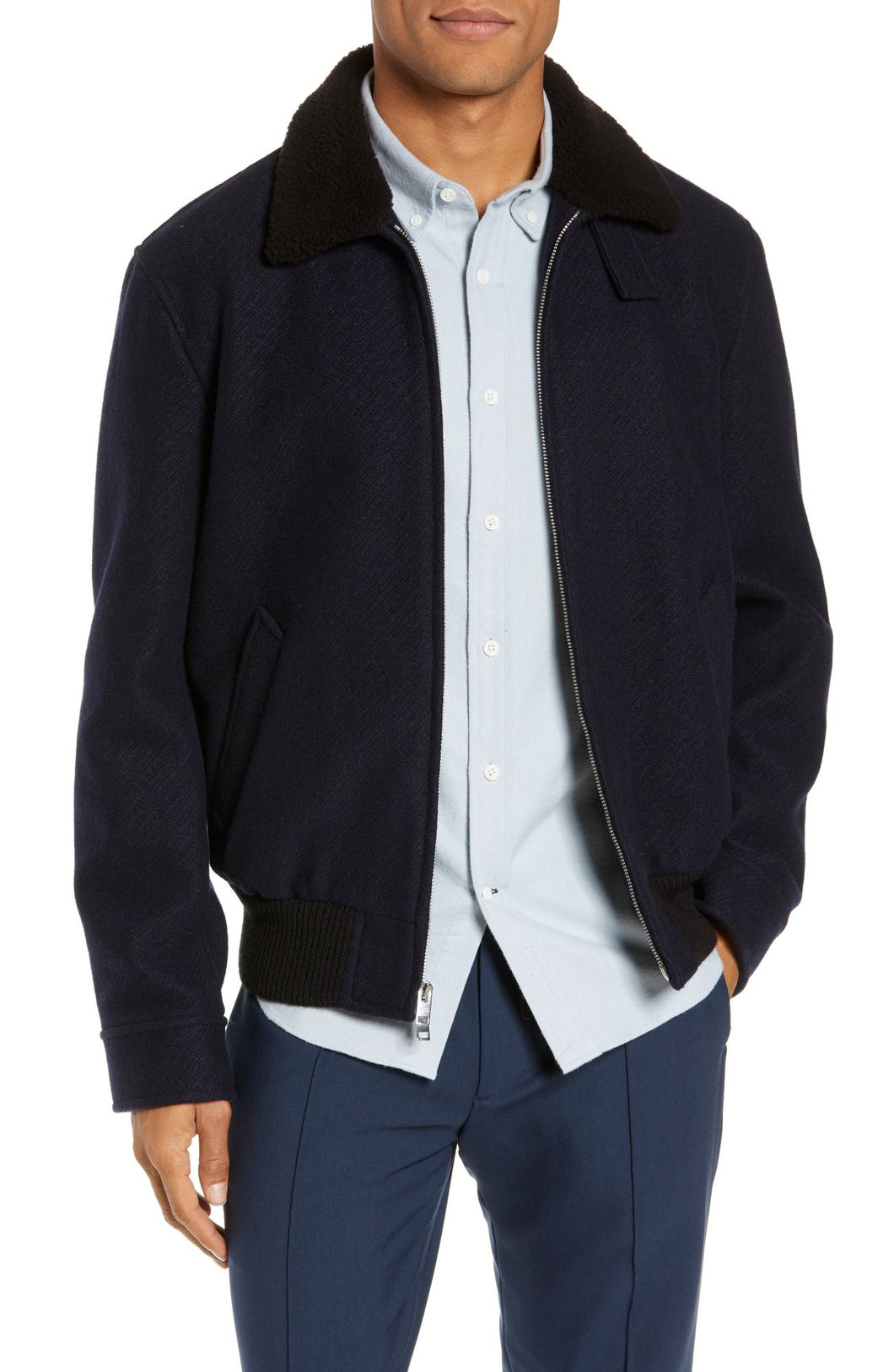 Trim Fit Bomber Jacket with Genuine Shearling Collar