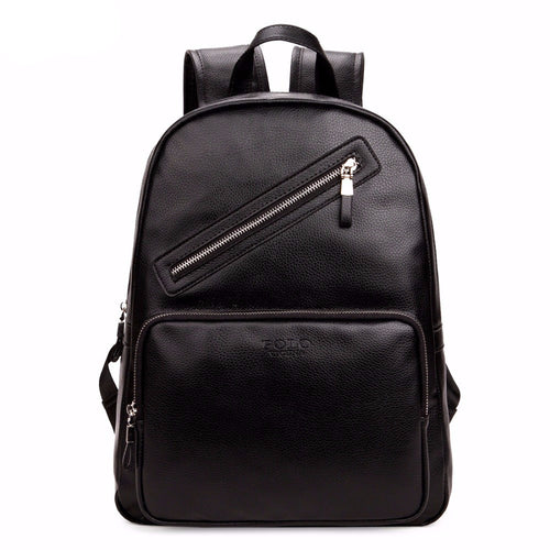 Black PU Leather Backpack