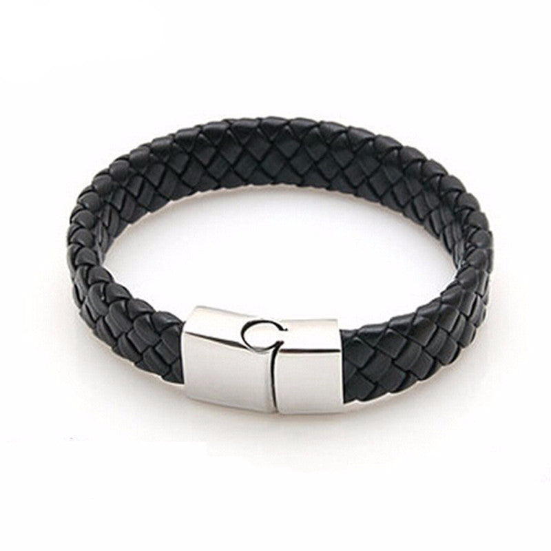Leather Bracelet with Stainless Steel Clasp
