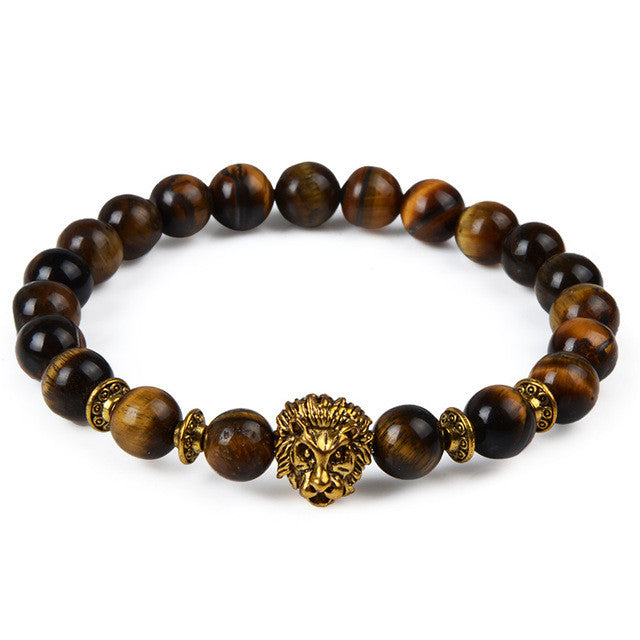 Lava Beads Bracelet with Lion Head Charm