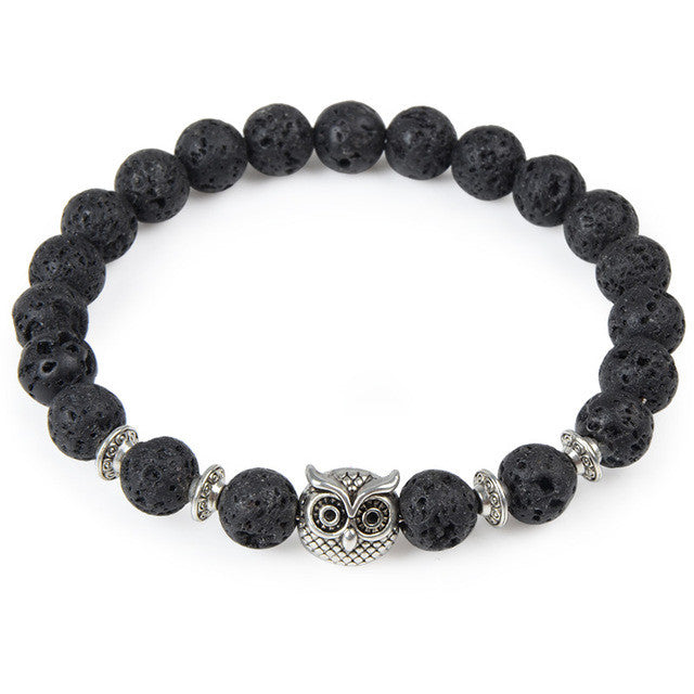 Black Bead Bracelet with Owl Charm