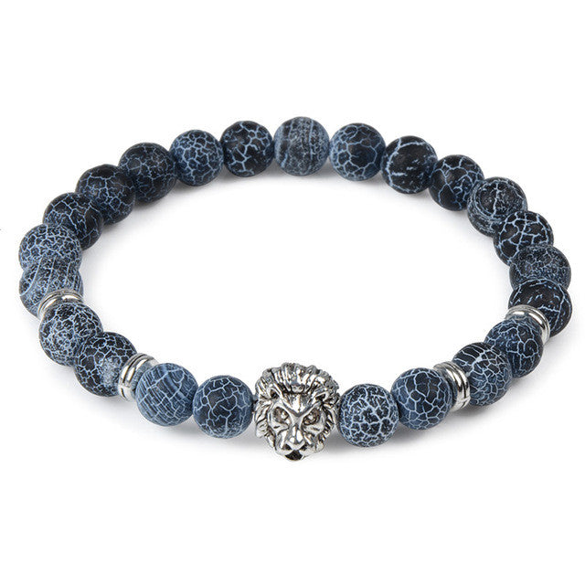 Storm Beads Bracelet with Lion Head Charm
