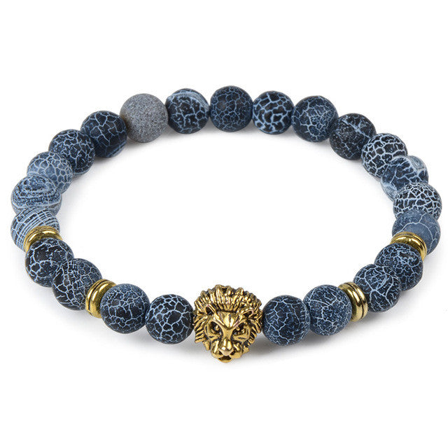 Storm Bead Bracelet with Lion Head Charm
