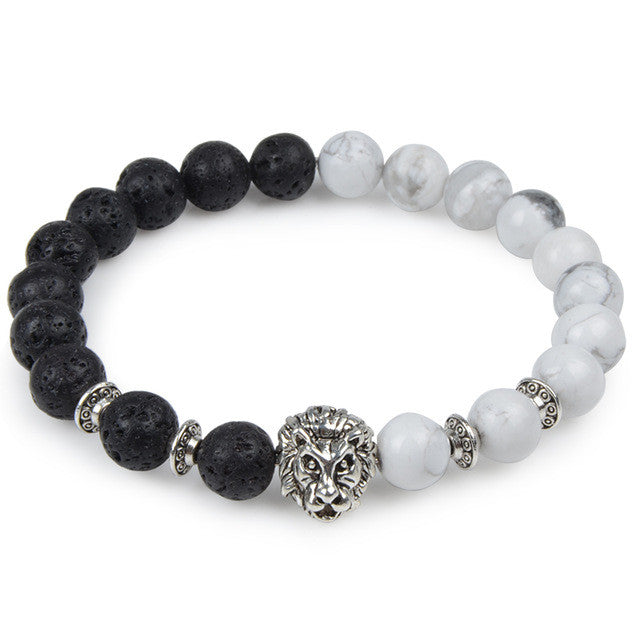Black and White Bead Bracelet with Lion Head Charm