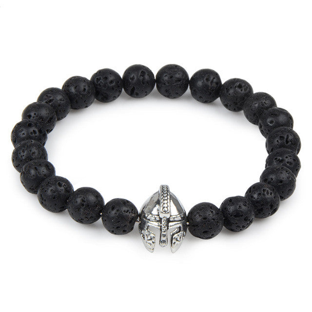 Black Bead Bracelet with Gladiator Charm