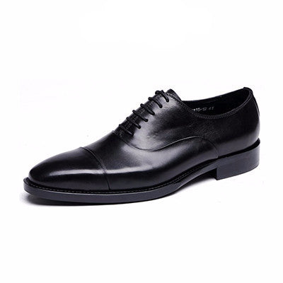 Black Leather Cap-Toe Dress Shoes