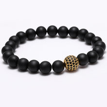 Black Matte Bead Bracelet with Cubic Zirconia