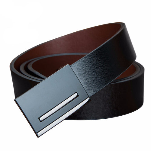 Leather Belt with Black/Silver Buckle