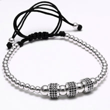 Stainless Steel Micro Bead Bracelet with Cubic Zirconia