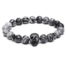 Bead Bracelet with Skull Charm (4 Styles)