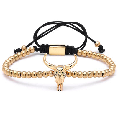 Micro Bead Bracelet with Bull Charm (4 Styles)