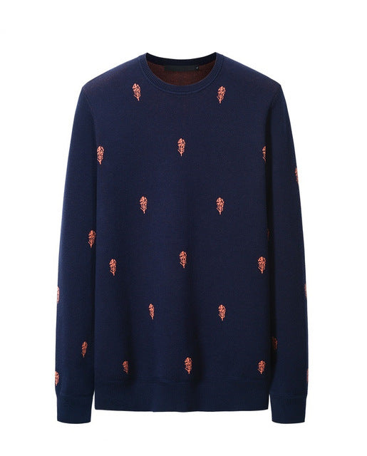 Crewneck Sweater with Print in Blue/Grey