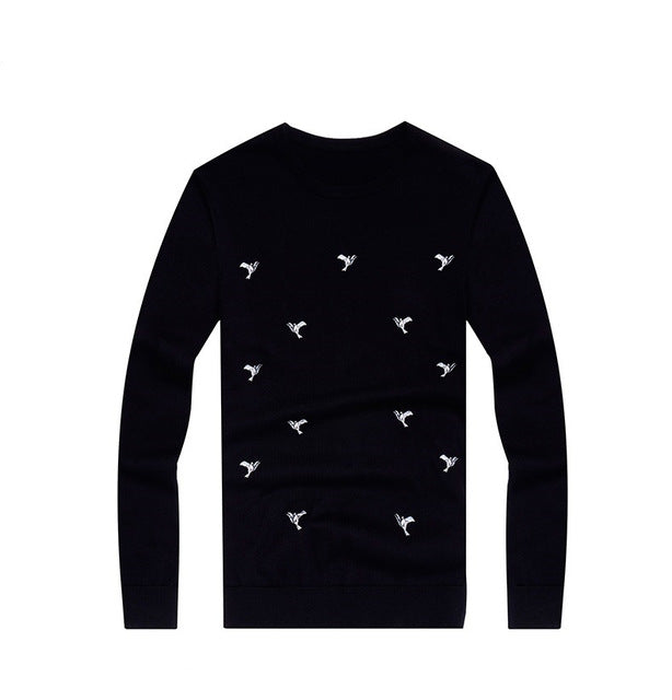 Black Crewneck Sweater with Print
