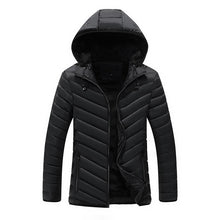 Puffer Jacket in Black/Blue