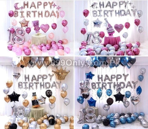 HAPPY BIRTHDAY 50 PIECES PACKAGE Blue With Silver