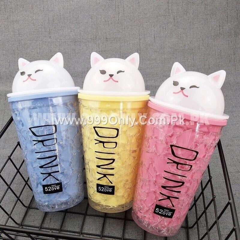 Plastic water bottle with straw drinks cups + cups creative Animal summer broken Cool Portable
