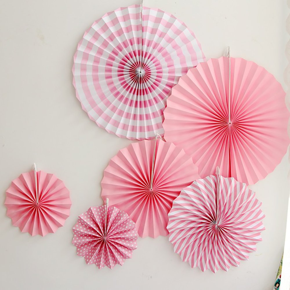 PARTY HANGING PAPER FANS SET, PINK ROUND PATTERN PAPER GARLANDS DECORATION FOR BIRTHDAY WEDDING GRADUATION EVENTS ACCESSORIES, SET OF 6