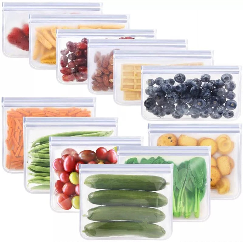 (Pack of 2) 1000 ml Food Storage Bag Reusable Freezer Fruit Vegetable Savers Durable Vacuum Keeping Food Fresh Wrap Cover