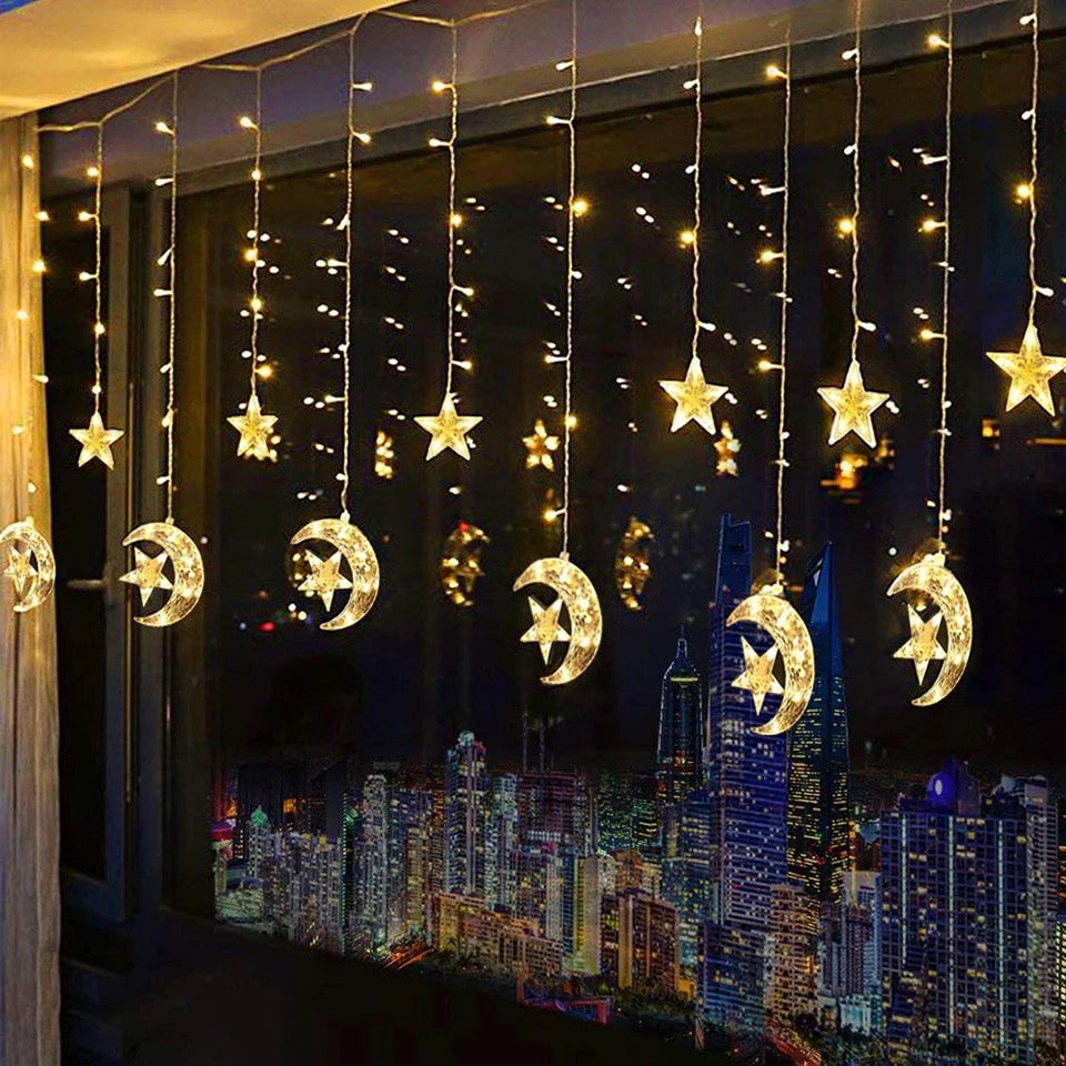 Crescent Moon Curtain String Fairy Lights