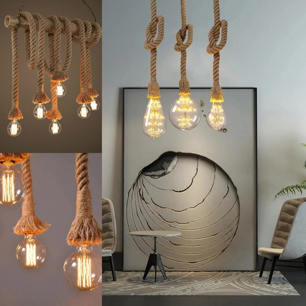 Retro Decorative Rope E27 Hanging Lamp Holder 1m Socket E27 Lamp Base Bulb Holder Chandelier Connector Cable