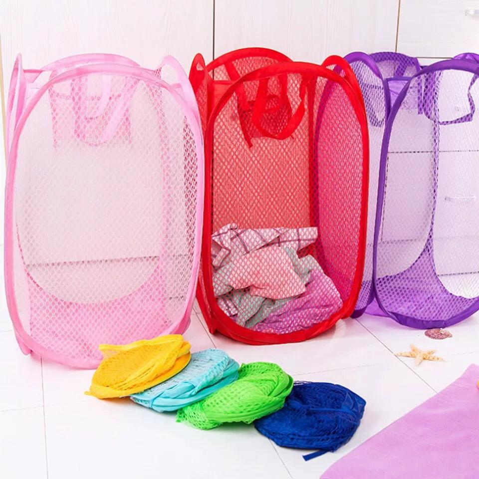 Foldable Clothes Storage Baskets Mesh Washing Dirty Clothes Laundry Basket Portable Sundries Organizer