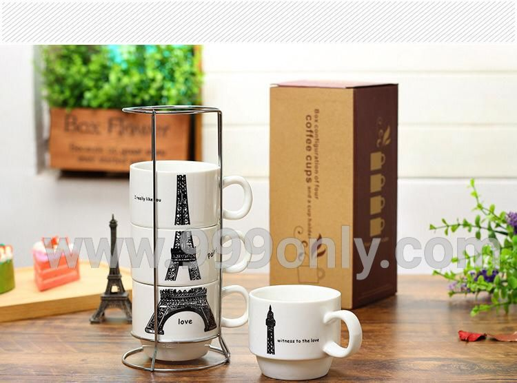 Paris Eiffel Tower Overlaying 4 In 1 Coffee Tea Cup Set
